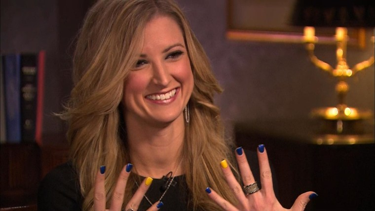 "Rebekah Gregory shows off her ""Boston Strong"" nails that she wore to Tsarnaev's trial."