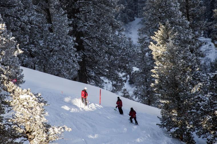 Image: Ski Patrol members look over the trigger area