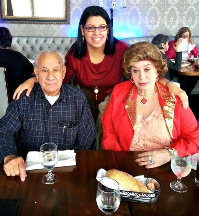 Image: Carmen Cusido with her parents, October 2014