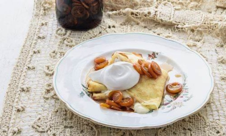 Crepes with Ricotta and Maple-Kumquat Syrup