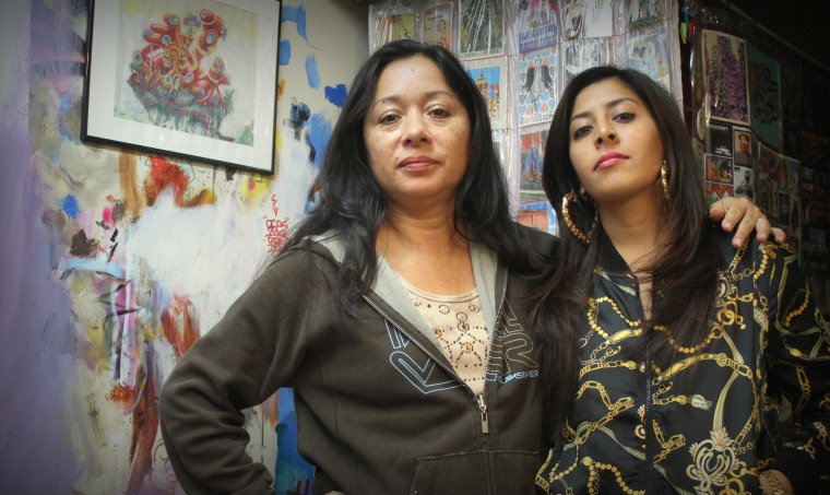 Nisha building with female graffiti legend LADY PINK at her studio in New York City.