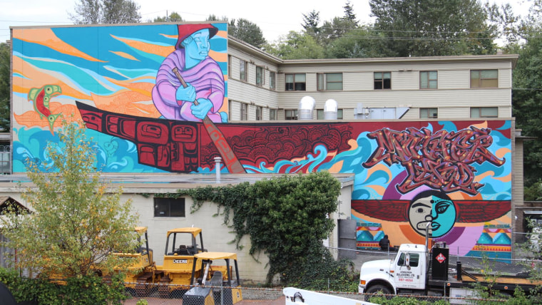 """Word to Your Motherland"" - a 90-foot-high mural collaboration with 4 artists in North Vancouver, Canada."