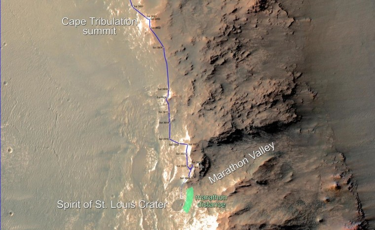 Image: Map of route of NASA's Mars exploration rover Opportunity