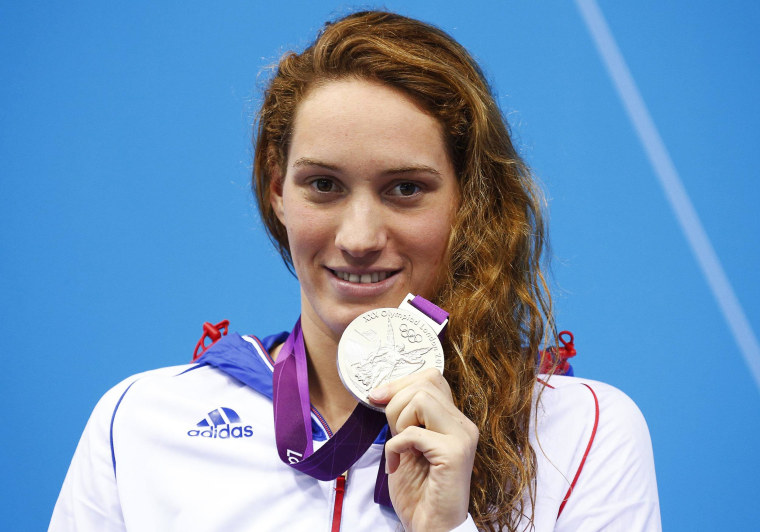 Image: Camille Muffat with her silver medal during the London 2012 Olympic Games