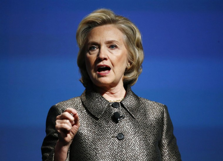 Image: Former U.S. Secretary of State Hillary Clinton speaks during a Gates Foundation event in New York