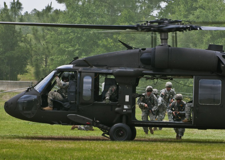 Rangers make their way to the UH-60 Blackhawk during training at Eglin Air Force Base, Fla.in 2012.