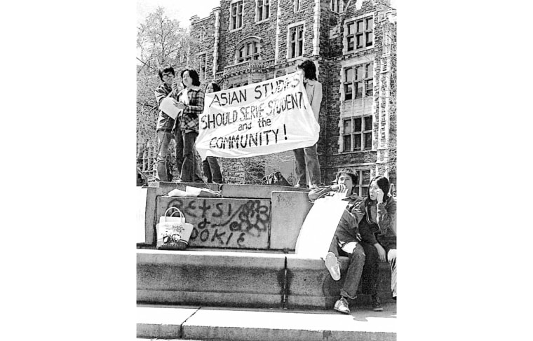 Margaret Chin (in plaid jacket) prepares to address the crowd at an Asian-American student-led rally at New York's City College, where she was a student in the 1970's.