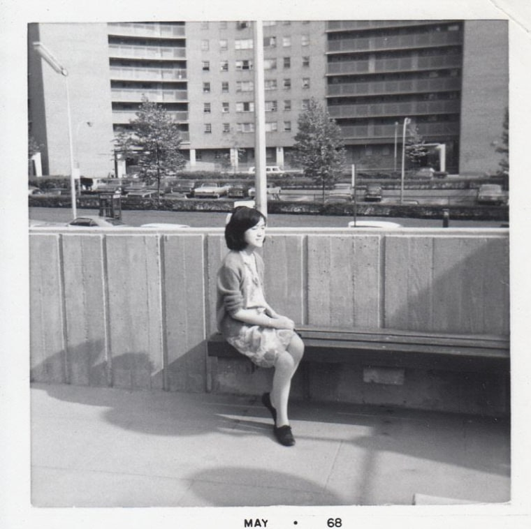 Margaret Chin sits in New York City's Chinatown in May 1968, across the street from what would, decades later, become her district office as a New York City Council Member.