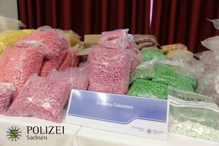 Image: German police collected drugs including Crystal, Cocaine, amphetamine (Speed), Ecstasy pills, LSD, hashish and marijuana during a drug bust in Leipzig.