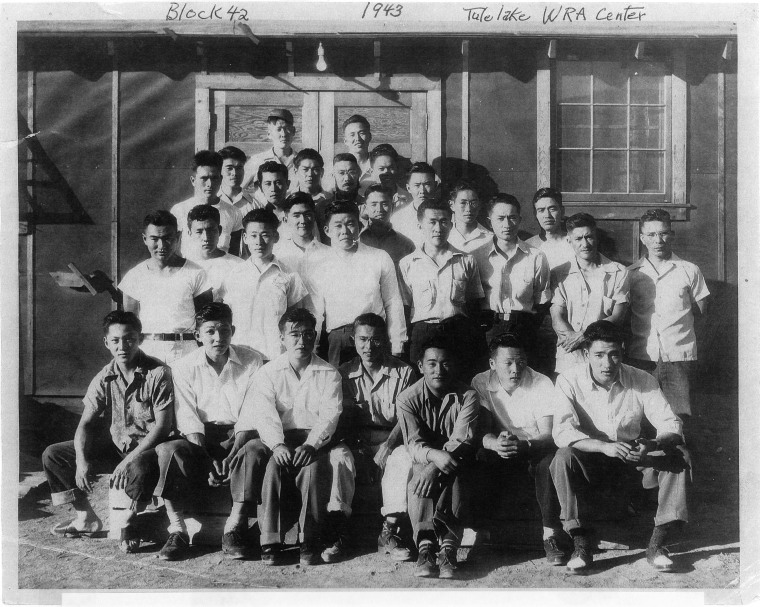 The men from Tule Lake War Relocation Authority Camp Block 42 who had been illegally arrested at gun point in 1943 for refusing to register for the controversial loyalty questionnaire