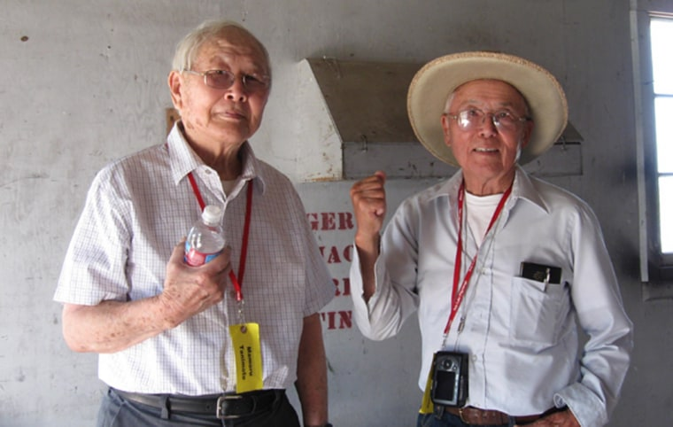 """Mamoru """"Mori"""" and James Tanimoto were two of about 35 men from Tule Lake's Block 42, who had been illegally arrested at gun point in 1943 for refusing to register for the controversial loyalty questionnaire."""