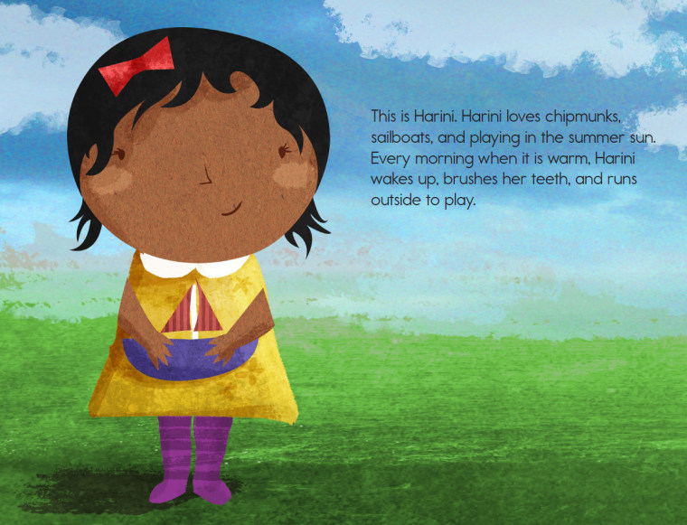 "Harini is the lead character in the first book published by Bharat Babies, ""Hanuman and the Orange Sun."""