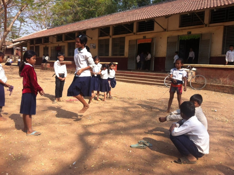 Girls jump rope during recess at a primary school in rural Siem Reap Province in Cambodia.