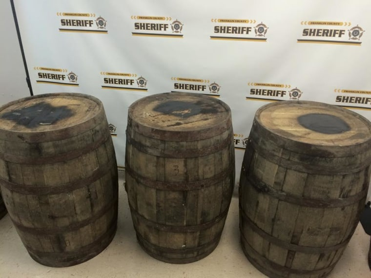 Franklin County sheriff's deputies responding to a tip recovered five barrels — each filled with bourbon — that were taken from the Wild Turkey Distillery at nearby Lawrenceburg, Sheriff Pat Melton said Thursday.