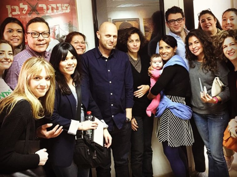 Image: A group of Latinos in the film and entertainment industry meet with acclaimed Israeli producer Hagai Levy