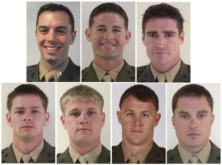 Image: Combination handout photo of U.S. Marines killed in helicopter crash off the Florida panhandle