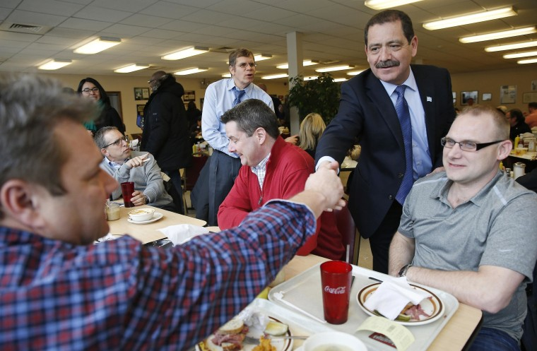 "Image: File photo of Chicago Mayoral candidate Jesus ""Chuy\"" Garcia greeting restaurant patrons, during a campaign stop on election day in Chicago"
