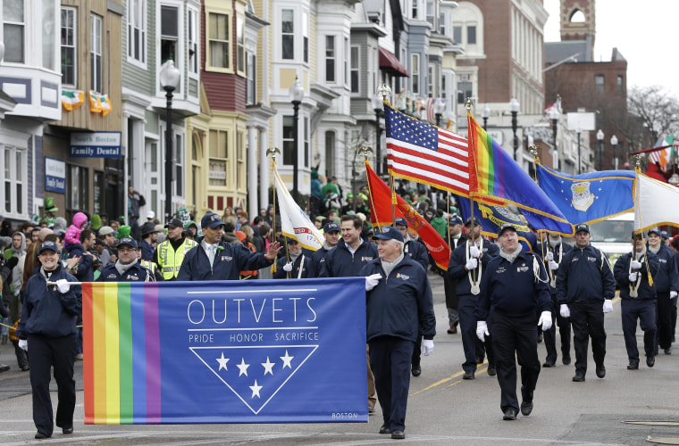Image: Gay military veterans march in Sunday's St. Patrick's Day parade in Boston