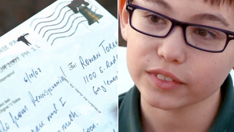 Rowan Torrez, 10, is grateful for one last memento of his late father after a postcard his dad sent in 2007 just showed up last week.