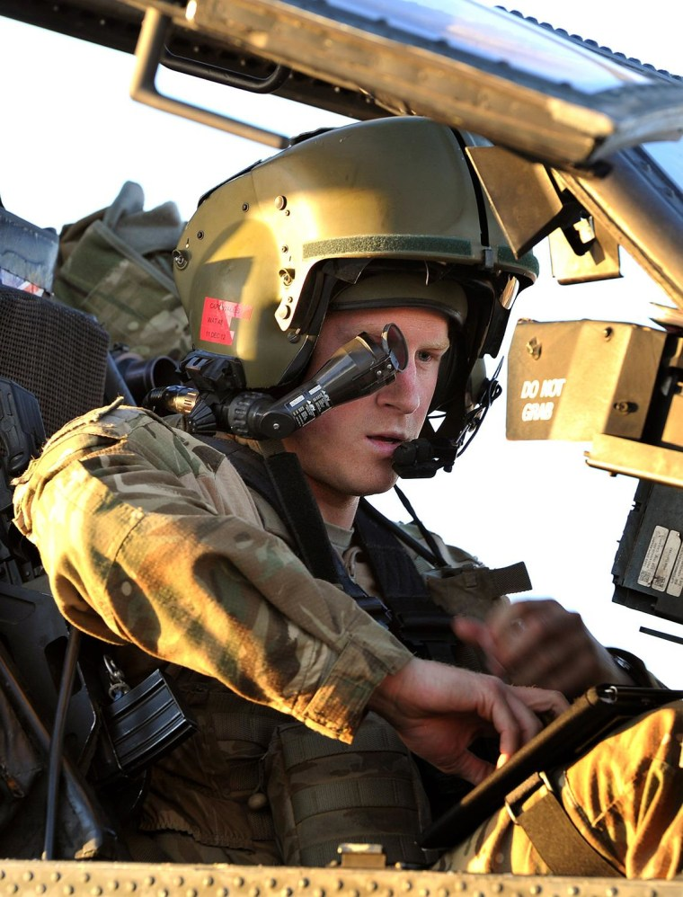 Prince Harry in the front seat of his Apache helicopter
