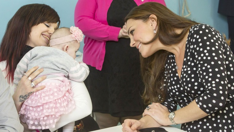 Britain's Catherine, Duchess of Cambridge arrives to visits the Brookhill Children's Centre