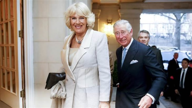 Britain's Prince Charles and Camilla, the Duchess of Cornwall arrive for a reception at the British Ambassador's residence on Tuesday, March 17.