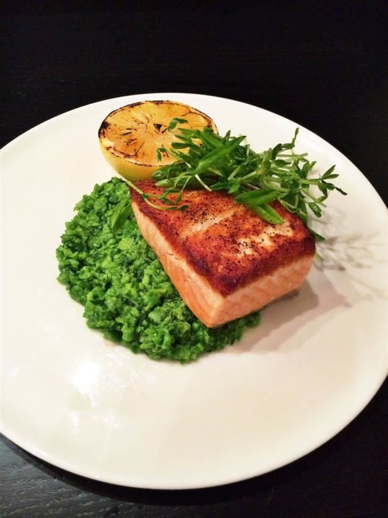 This easy, healthy salmon with mashed peas and herbs has 'spring' written all over it!