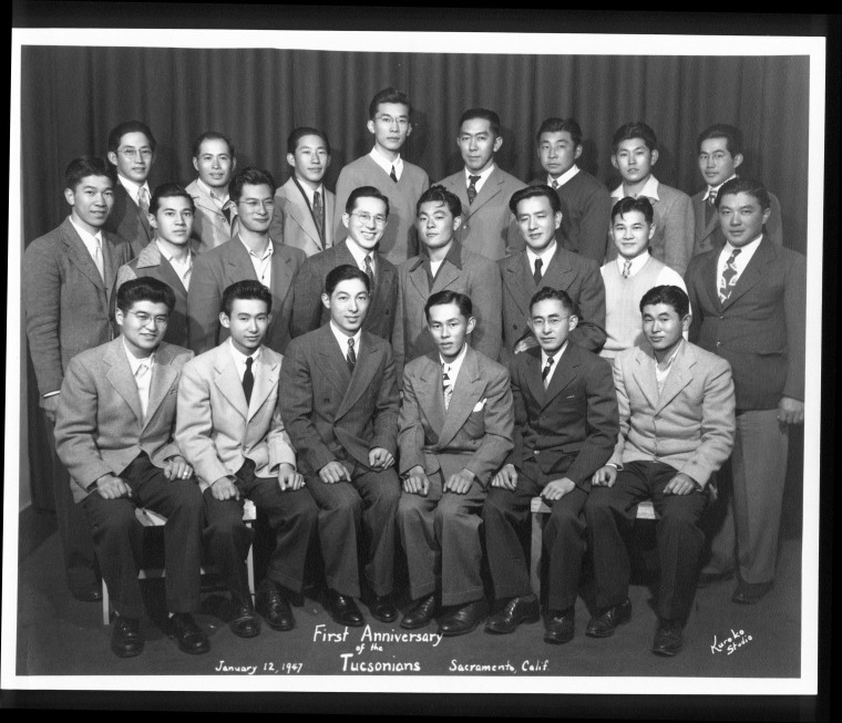 First reunion photo of draft resisters who had been imprisoned at the Federal Prison Camp in Tucson, Ariz., during World War II. (Jan 12, 1947)