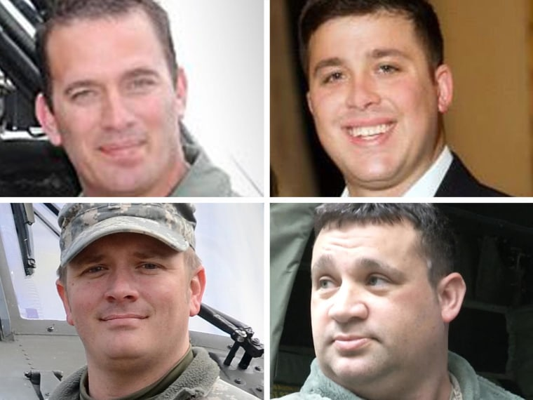 Clockwise from top left, Chief Warrant Officer 4 George David Strother, 44; Staff Sgt. Thomas Florich, 26; Staff Sgt. Lance Bergeron, 40; and Chief Warrant Officer 4 George Wayne Griffin Jr, 37, died when a UH-60M Black Hawk they were riding on crashed into the Santa Rosa Sound, Florida.