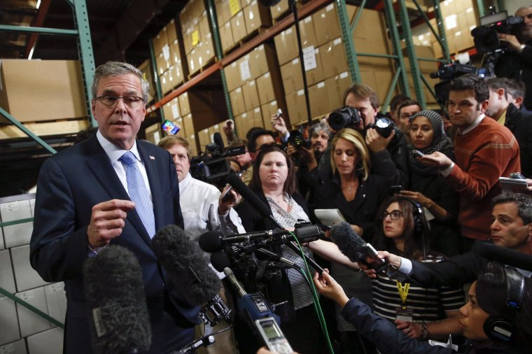 Image: Former Florida Governor Jeb Bush speaks to the media after visiting Integra Biosciences during a campaign stop in Hudson, New Hampshire