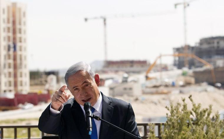 Image: Israeli Prime Minister Benjamin Netanyahu delivers statement in Har Homa