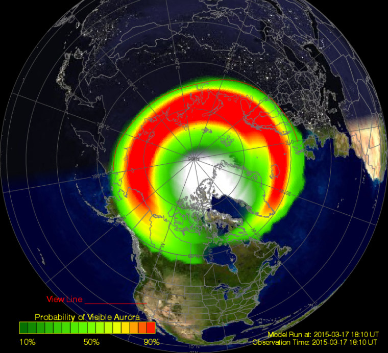Image: Graphic showing where the northern lights are likely visible due to solar storm