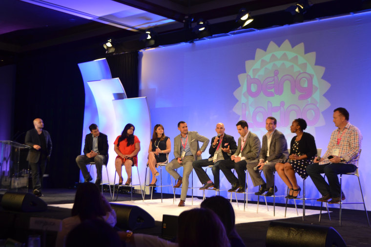 """A panel discussion moderated by """"Being Latino"""" founder Lance Rios during Hispanicize (#Hispz15) event in Miami, Florida."""