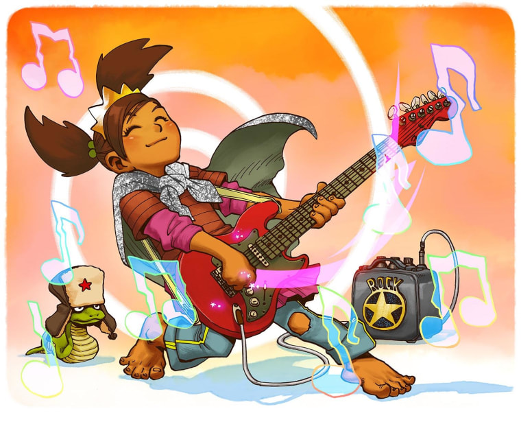 """Images from the children's picture book, """"The Princess Who Saved Herself,"""" written by filmmaker and writer Greg Pak, based on the song by singer/songwriter Jonathan Coulton, and illustrated by artist Takeshi Miyazawa."""