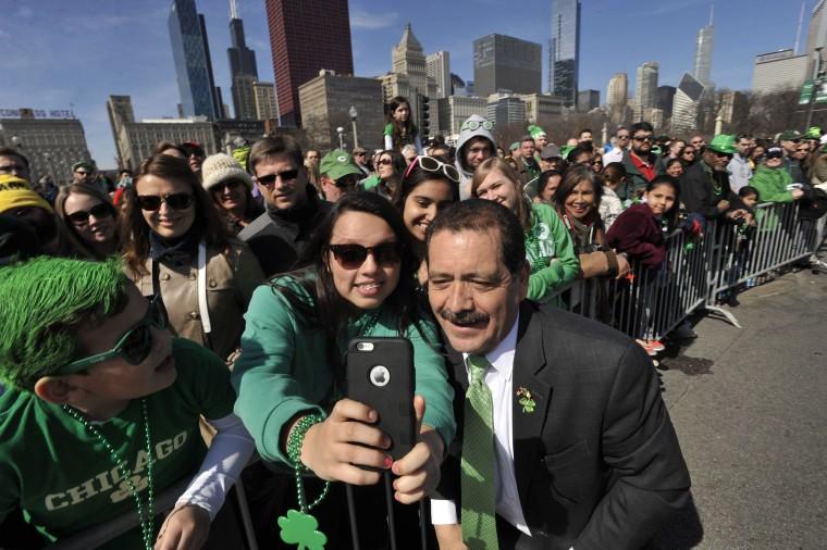 "Image: Samantha Hernandez, Jesus ""Chuy"" Garcia, St. Patrick's Day, Chicago"