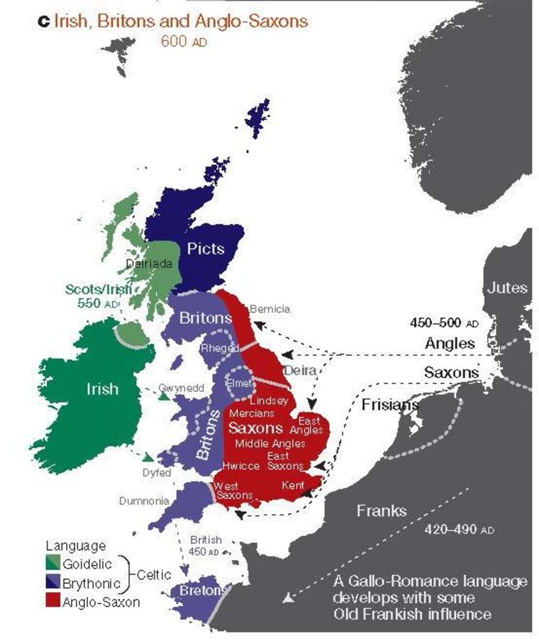 The regions of ancient British, Irish and Saxon control. (Nature & Leslie et al | EuroGeographics for the administrative boundaries)