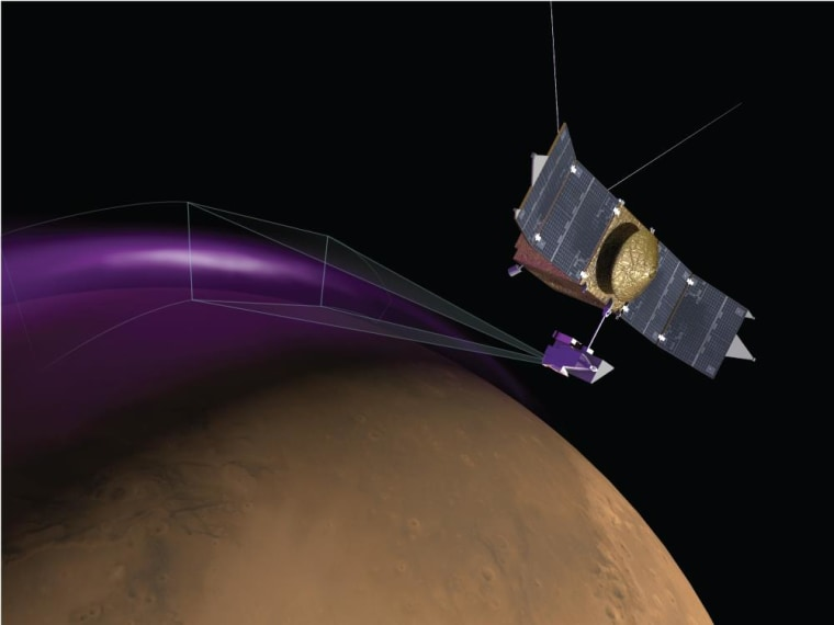 """Artist's conception of MAVEN observing the """"Christmas lights"""" aurora on Mars. The display would not be visible to human eyes."""