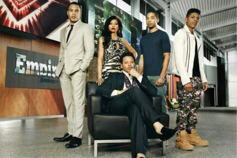 "The cast of Fox's hit show, ""Empire,"" from L to R: Trai Byers, Taraji P. Henson, Jussie Smollett, Bryshere Gray and Terrence Howard."