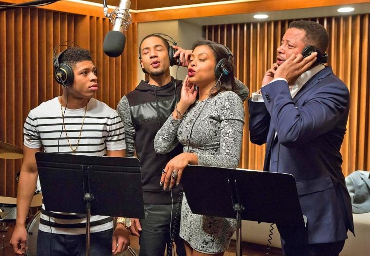 "Bryshere Gray, Jussie Smollett, Tarji P. Henson and Terrence Howard in a scene from Fox's ""Empire."""