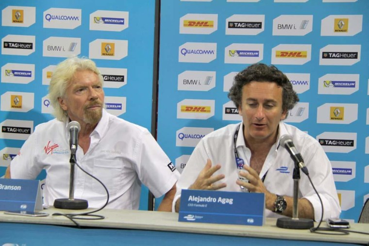 Sir Richard Branson and ePrix series organizer Alejandro Agag give a news conference at a Formula E electric vehicle race in Miami.