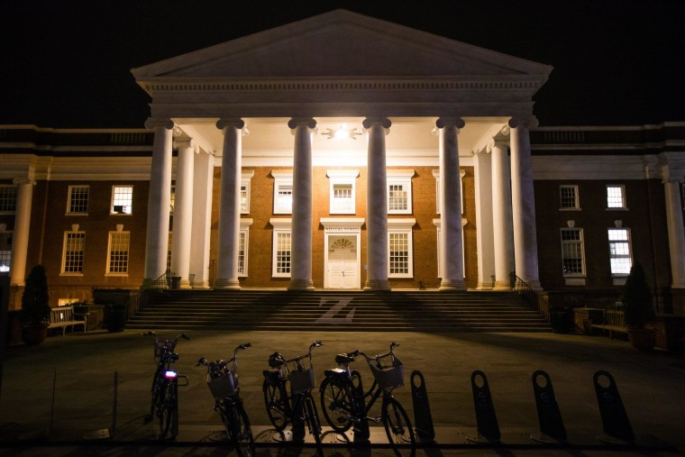 Lights illuminate a building of University of Virginia School of Medicine on March 19, 2015 in Charlottsville, Virginia. Martese Johnson is the black University of Virginia student whose face was bloodied during his arrest on March 18 outside the pub, seen in a widely distributed video and in photos.