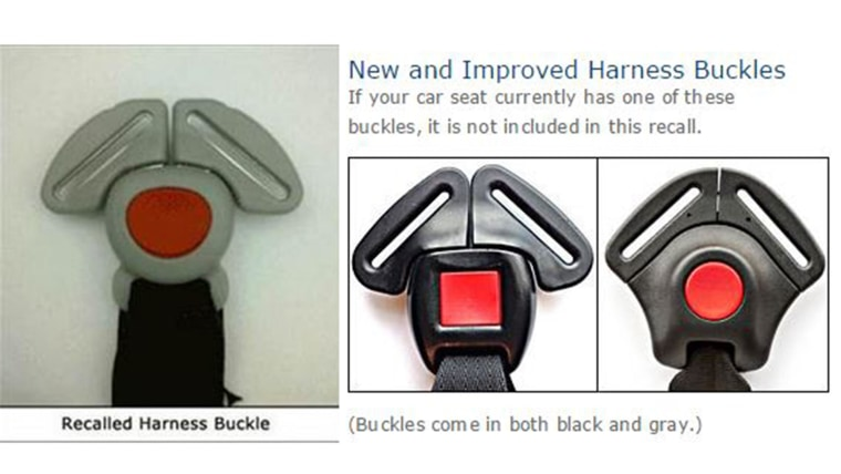 Recalled Graco buckle and new version.