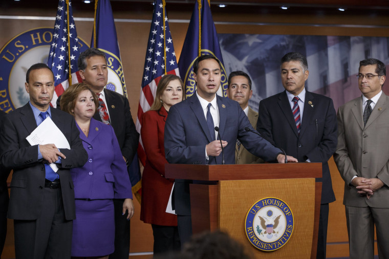 Image: Luis Gutierrez, Linda Sanchez, Loretta Sanchez, Joaquin Castro, Xavier Becerra, Ben Ray Lujan, Tony Cardenas,  Juan C. Vargas