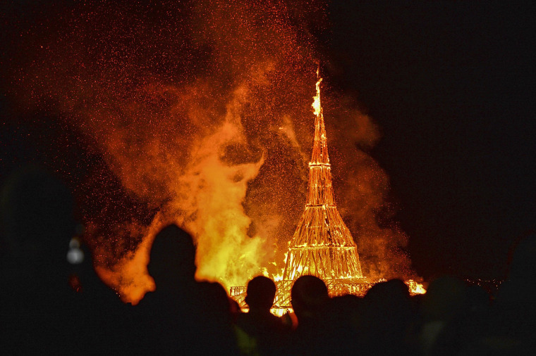 Image: Thousands gather as Burning Man is set alight in Northern Ireland