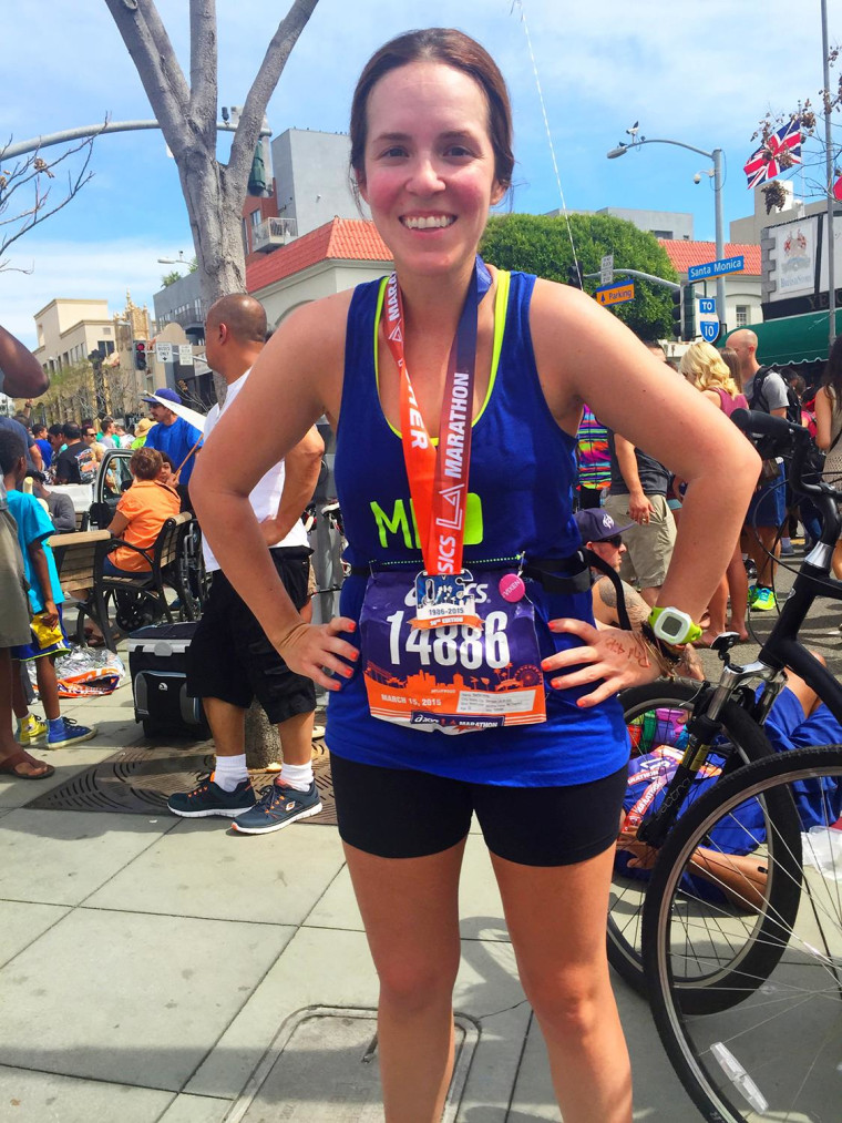 Rachel Hollis after completing the Los Angeles marathon, her first ever.