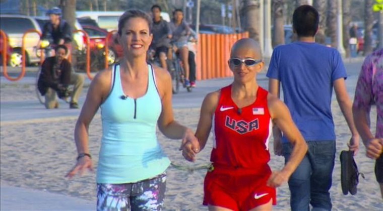 Ivonne, seen here with Natalie, says running gives her a sense of peace.