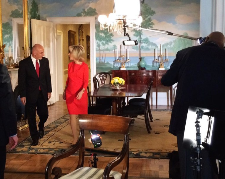 Afghanistan President Ashraf Ghani and NBC News correspondent Andrea Mitchell.