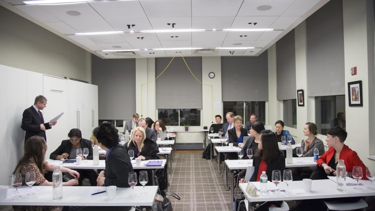 Practicing deductive tasting is essential preparation for one of two certifying exams students take at the end of the course, which includes a blind tasting, 40 questions on written theory and a service practical.
