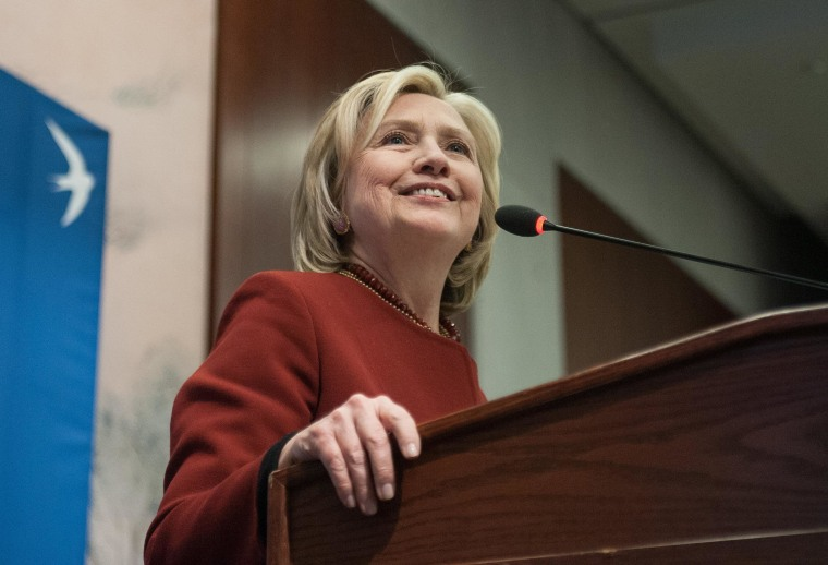 Image: Former US Secretary of State Hillary Clinton speaks at Syracuse Universitys S.I. Newhouse School of Public Communications presentation of the Toner Prize for Excellence in Political Reporting in Washington, DC