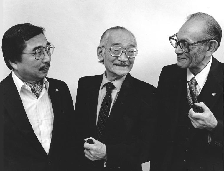1983 Coram Nobis Litigants (L-R) Gordon Hirabayashi, Minoru Yasui, and Fred Korematsu (L-R)